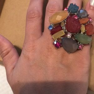 Stone and gem fashionable statement ring